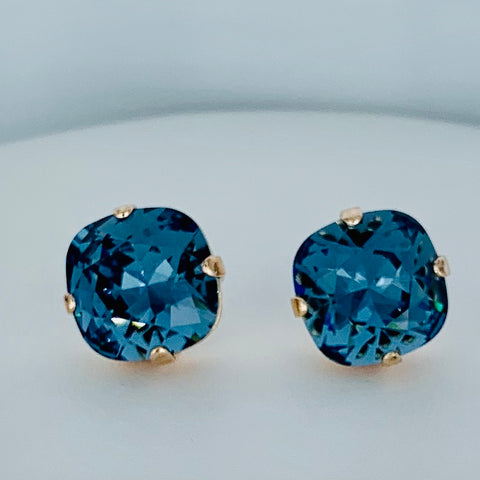 Mariana Square Earrings in  Blue on Rose Gold Post