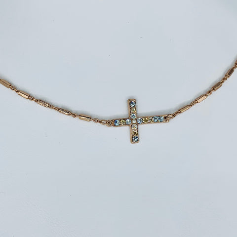 Mariana Sideways Cross Necklace in Neutrals on Rose Gold