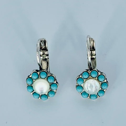 Mariana Flower Earring Turquoise/Mother of Pearl on Silver