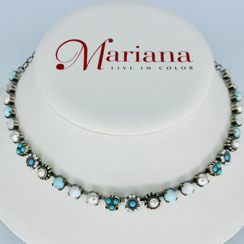 Mariana Small Turquoise/WhiteNecklace on Silver