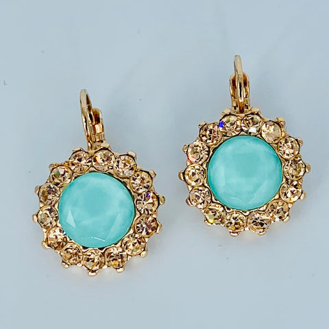Mariana Green/Gold Earrings on Rose Gold Large