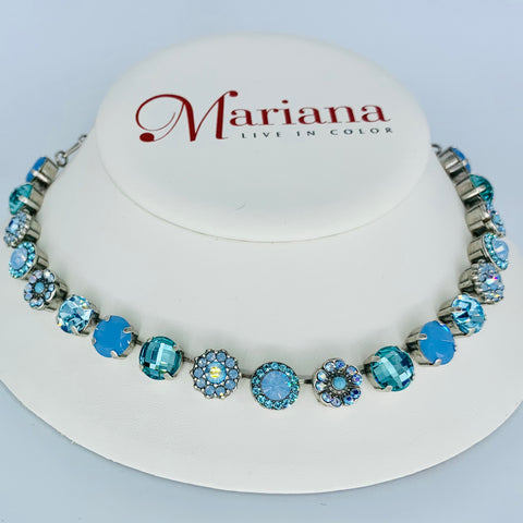 Mariana Medium Necklace in Blues on Silver