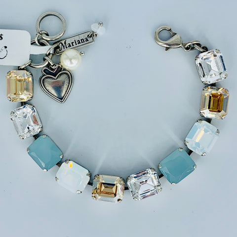 Mariana Emerald Cut Bracelet Blue/Clear on Rhodium