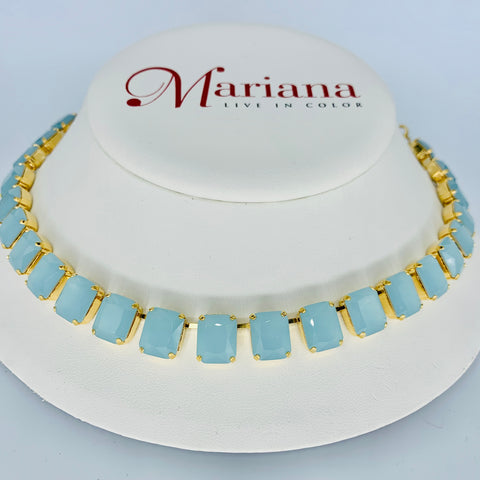 Mariana Emerald Cut Necklace Milky Blue on Gold