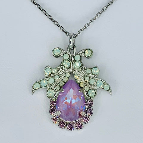 Lavender Filligree Teardrop Pendant on Rhodium