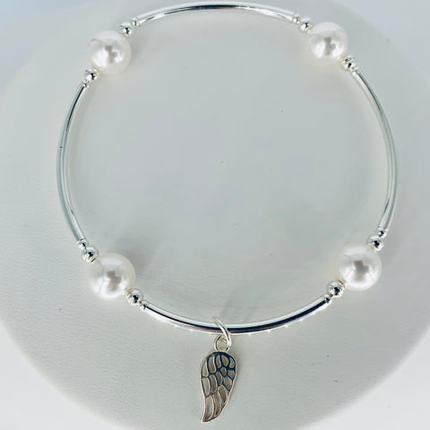 Health and Healing Angel Wing Blessing Bracelet in White Pearl and Sterling Silver