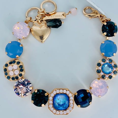 Mariana Medium Square Center Bracelet Blue Morpho on Rose Gold