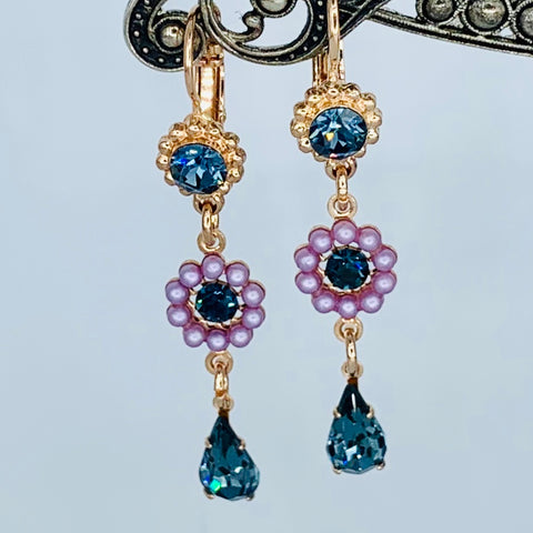 Mariana Earring Triple Drop Blue Morpho on Rose Gold