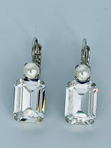 Mariana Earring Emerald Cut Clear/Pearl on Rhodium