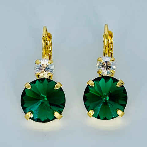 Mariana  Double Drop Earrings in Emerald/Clear on Gold-Rivoli