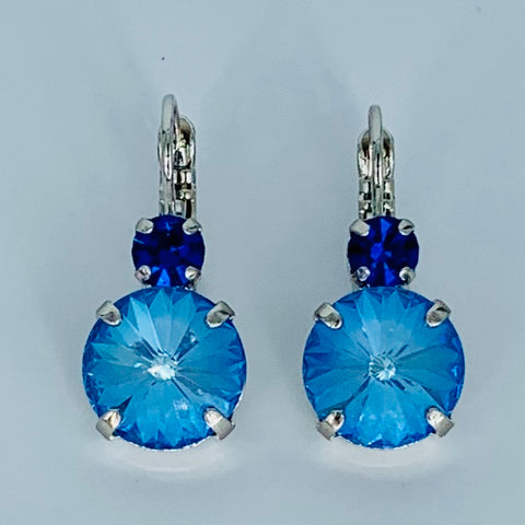 Mariana  Double Drop Earrings in Laguna/Blue on Rhodium-Rivoli