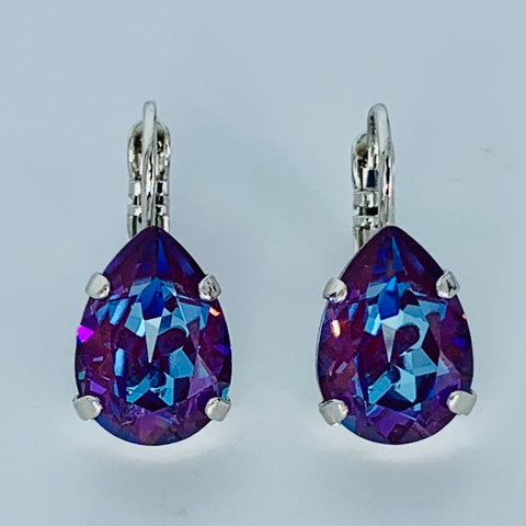 Mariana Earrings Teardrop in Plum on Rhodium