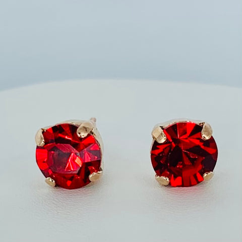 Mariana Stud Bright Red on Rose Gold