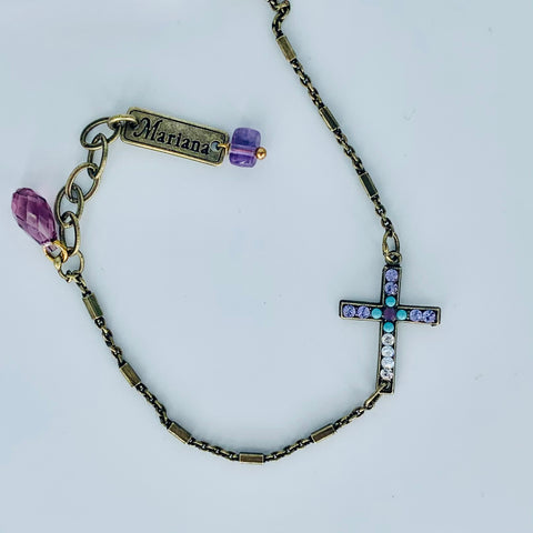 Mariana Cross Bracelet on Antique Gold