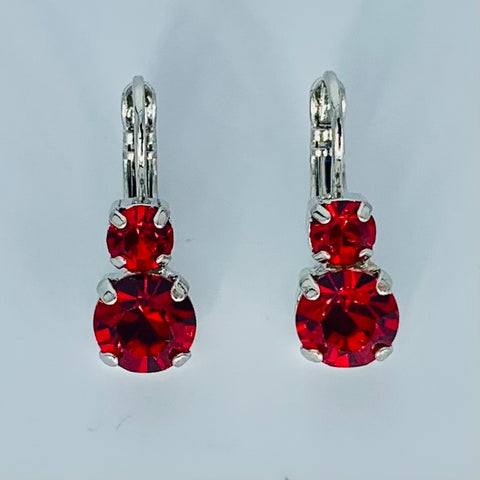 Mariana Small Double Drop Earrings in Bright Red on Rhodium
