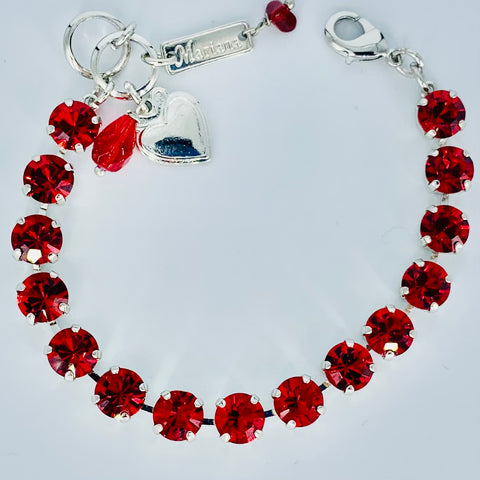 Mariana Small Bracelet in Bright Football Red on Silver