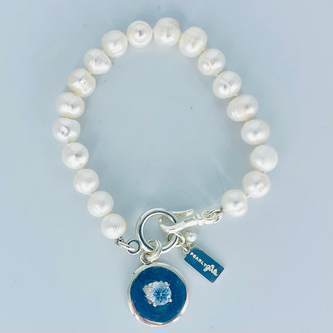 Pearl Bracelet with Sterling and Aquamarine Tag Pendant