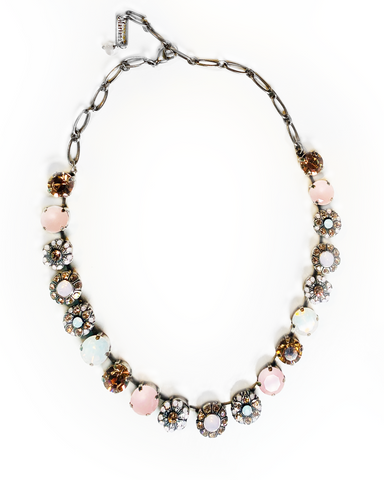 Mariana Medium Necklace in Pinks on Silver