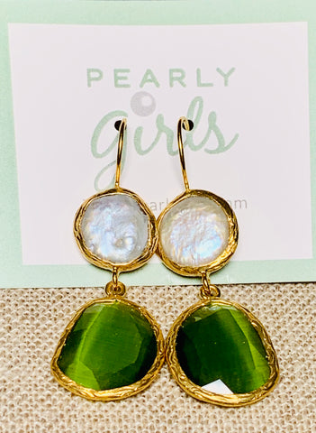 Pearl and Green Cat's Eye Earrings