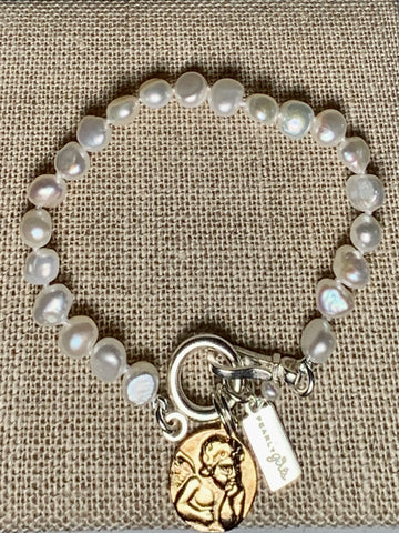 Pearl Bracelet with Gold Guardian Angel