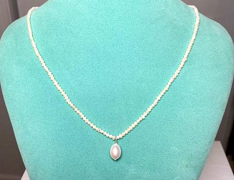 Tiny Pearls with Pearl drop Necklace
