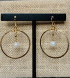 Gold Filled Hoop Earrings with Pearl Dangles
