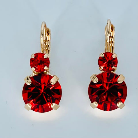 Mariana Earrings Double Drop in Chiefs Red on on Rose Gold