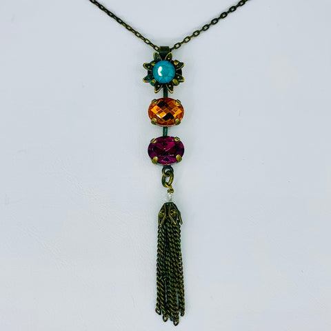 Mariana Emerald 3 Part Pendant on Dark Antique Gold