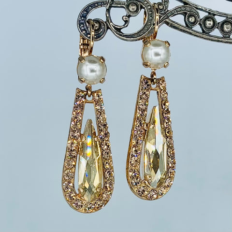 Mariana Earrings Pearl/Teardrop in Champagne on Rose Gold