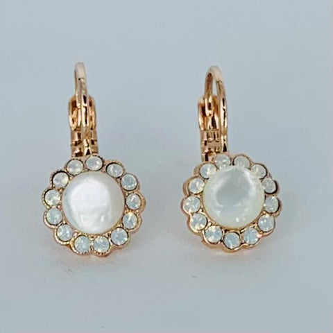 Mariana Flower Earring White on Rose Gold