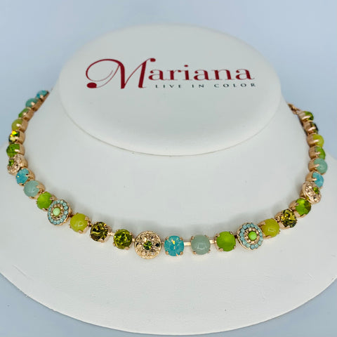 Mariana Necklace Evergreen on Rose Gold