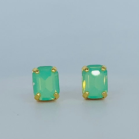 Mariana Earrings Small Emerald Cut Post Green on Gold