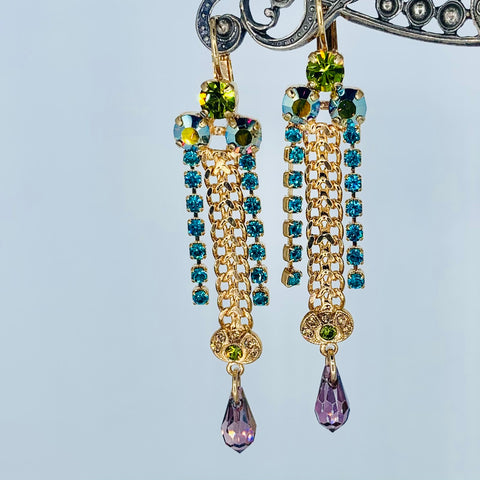 Mariana Chain Earrings in Teal/Lavender on Rose Gold
