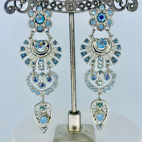Mariana Huge Fancy Earrings in Blues on Silver