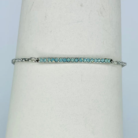 Mariana Slender Bar Bracelet in Green on Rhodium