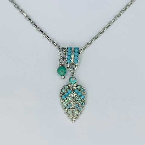 Mariana Leaf Pendant in Turquoise on Silver