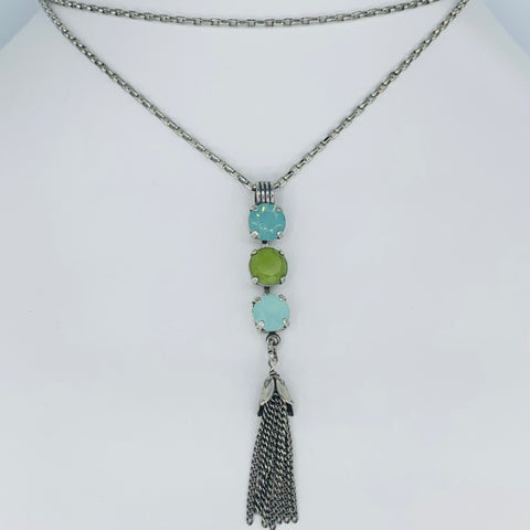 Mariana Necklace Triple Drop/Tassel Green on Silver