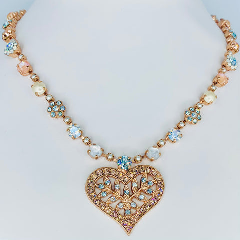 Mariana Heart Necklace in Sweet Pea on Rose Gold