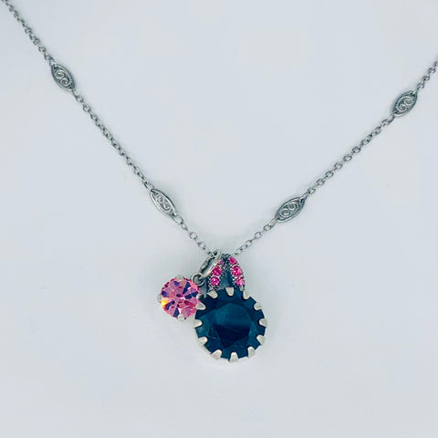 Mariana Side Car Necklace Black/Pink on Silver