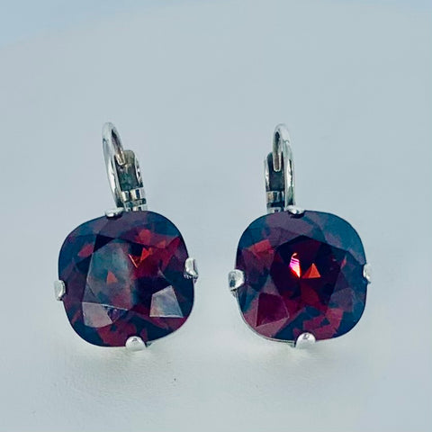 Mariana Square Earrings in Purple on Silver
