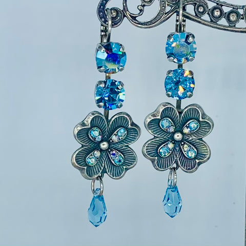 Mariana Earring Double Blue Crystal Over Silver Flower on Silver