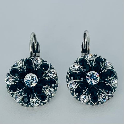 Mariana Black/Clear Earrings on Silver Medium