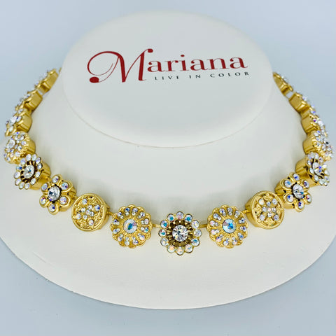 Mariana  Flower Necklace in Clear on Gold
