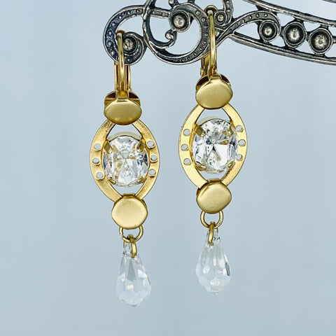 Oval Mariana Earring Clear on Gold