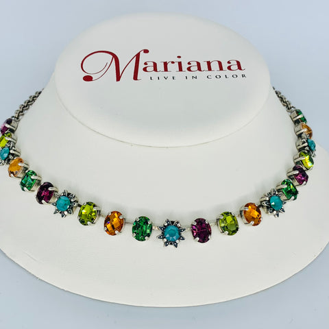 Mariana Necklace in Jewel Tones on Silver