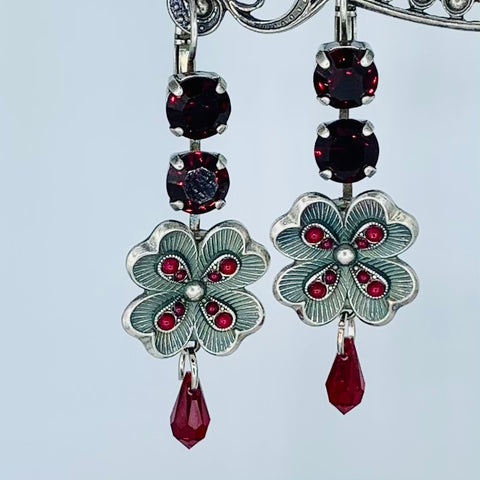 Mariana Earring Double Garnet Crystal Over Silver Flower on Silver