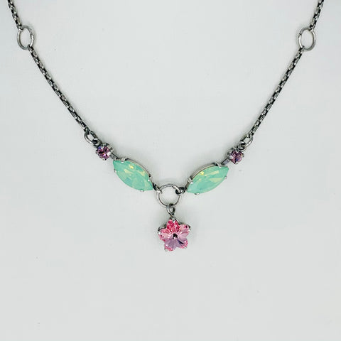 Mariana Small Star Necklace Pink/Green on Silver