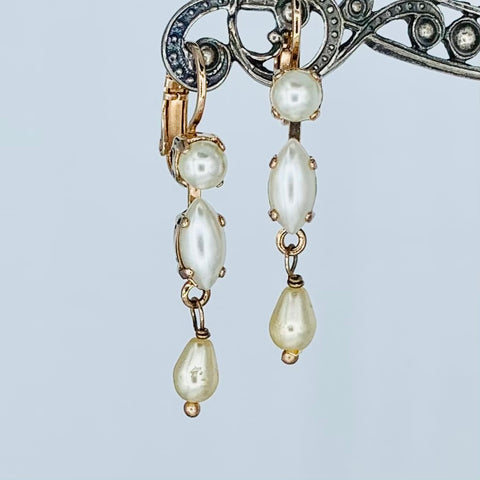 Mariana Earring Triple Pearl on Rose Gold