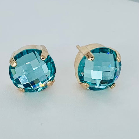 Mariana Medium Post Earrings in Faceted Blue on Rose Gold