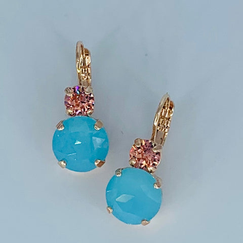 Mariana Earrings Double Drop in Robin's Egg/Blush on Rose Gold